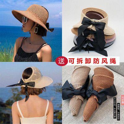 帽子女草帽女防晒帽洋气夏季沙滩帽大檐帽遮阳帽空顶帽可折叠百搭