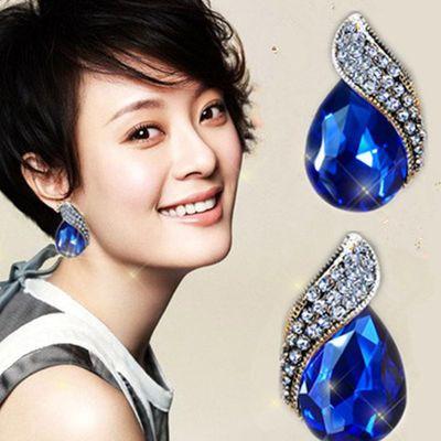 欧美网红流行新款蓝色水晶耳扣镶钻耳钉红色水晶大耳环S925银针饰