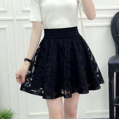 2020夏季新款蕾丝短裙女网纱半身裙A字伞裙裤裙高腰黑色蓬蓬裙