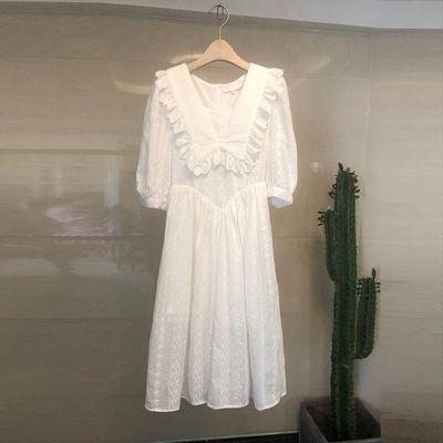 实拍韩国甜美连衣裙女2020夏新款中长款气质显瘦领仙女裙子