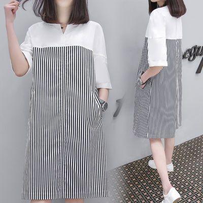 孕妇春夏装新款韩版T恤中长款连衣裙孕妇装条纹时尚宽松显瘦a字裙