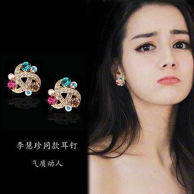 欧美螺旋花夸张甜美水晶镶彩钻耳扣式耳钉韩版气质时尚耳饰耳环女