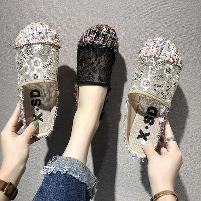 包头凉拖鞋女夏外穿时尚碎花镂空平底鞋网红社会亚麻透气半托女鞋
