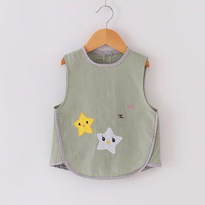 新款纯棉宝宝无袖罩衣防水儿童反穿衣婴儿防水吃饭围兜围嘴薄款