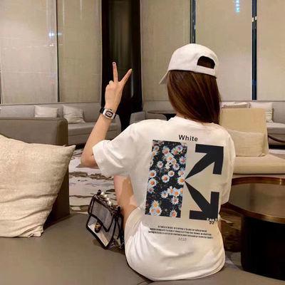 夏季新款潮牌OW直喷小雏菊箭头OFF WHITE短袖T恤休闲百搭男女同款