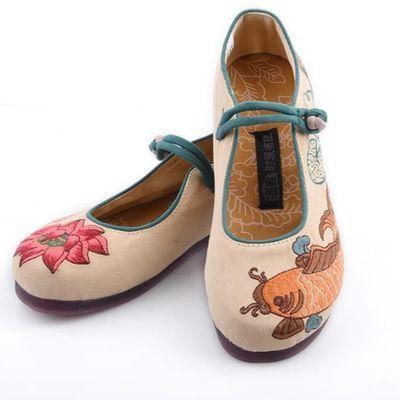 新款汉舞布鞋民族风女布鞋浅口单鞋平底跟盘扣绣花系带鞋鱼恋荷