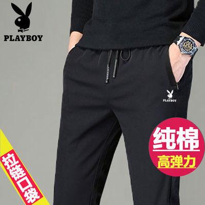 花花公子男士休闲裤夏季薄款弹力直筒运动裤加肥加大中青年裤长裤