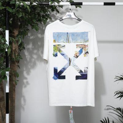 过毒验OFF OW WHITE莫奈油画T恤新款短袖潮牌情侣街头纯棉男女