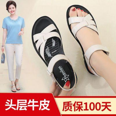2020真皮中年妈妈凉鞋女夏季平底防滑软底中老年妇女老人奶奶舒适