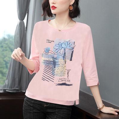 含棉2020夏装新款七分袖T恤女民族风上衣大码圆领宽松妈妈打底衫