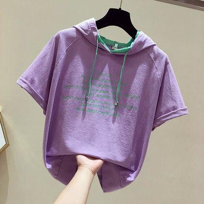 纯棉连帽t恤女2020夏季新款韩版宽松显瘦薄款百搭短袖上衣女ins潮