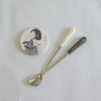 可爱爱心形勺子陶瓷柄不锈钢咖啡搅拌勺甜品勺长柄调羹