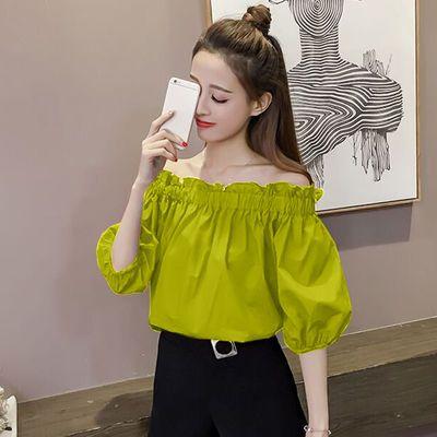 76002/2021夏季新款韩版女装春五分袖棉衬衫松紧一字肩衬衫女露肩红上衣