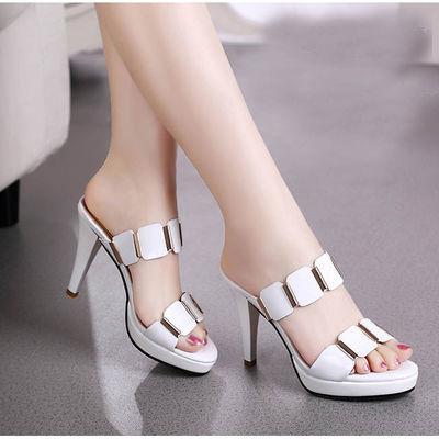 【血亏清仓】高跟凉拖鞋女夏外穿时尚韩版防水台细跟一字拖女鞋子