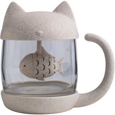 卡通过滤杯可爱猫咪玻璃杯带手柄清新水杯超萌女学生韩版泡茶杯子