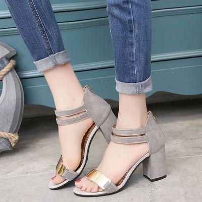 凉鞋女夏2010新款高跟鞋女鞋韩版鞋子女学生粗跟凉鞋百搭职业女鞋
