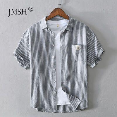JMSH日系清新条纹棉麻短袖衬衫男士夏季休闲透气青年宽松亚麻衬衣