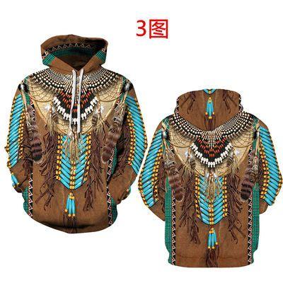 欧美风印第安人3d印花卫衣连帽春夏男女青年中学生个性狼图案外套
