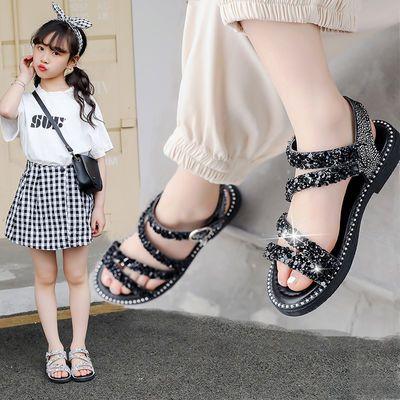 女童亮钻凉鞋2020新款夏季儿童公主鞋女学生韩版中大童女孩平底鞋