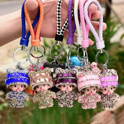 创意汽车蒙奇奇情侣钥匙扣韩国男女钥匙链圈挂件镶钻包包挂件礼物
