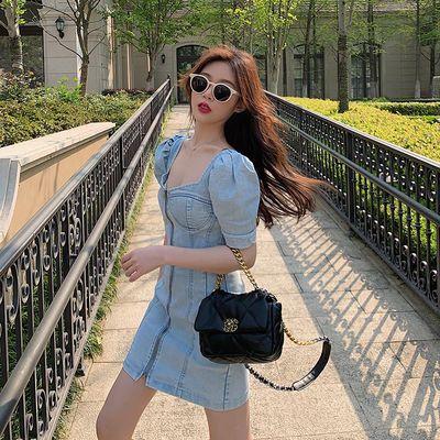 【好质量】韩版抹胸泡泡袖包臀牛仔连衣裙气质修身显瘦A字短裙女