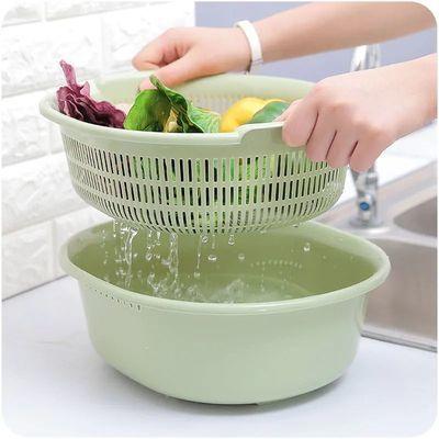 双层塑料洗菜盆沥水篮家用厨房淘菜筐大号创意洗菜篮子客厅水果盘