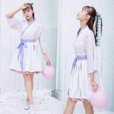 夏季汉服夏装仙女交领元素格纹印花袖上仙女襦裙舞台表演服饰套装