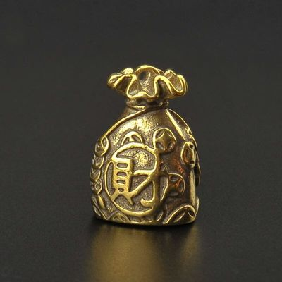 创意聚财钱袋钥匙扣复古纯黄铜招财挂件手把件精致礼品饰品潮复古
