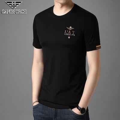 乔亚・阿玛尼短袖t恤男纯色圆领刺绣冰丝夏装薄款大码半袖体恤上衣