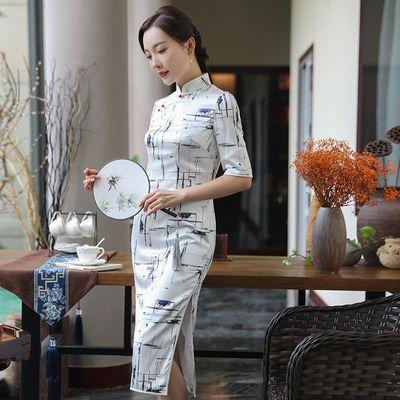 中国风改良旗袍女2020春夏新款复古时尚优雅年轻款妈妈装连衣裙女