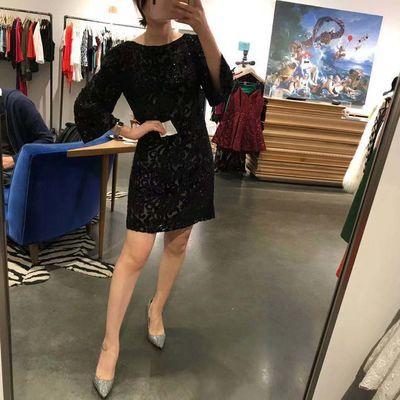 国内现货 AliceOlivia AO丝绒串珠重工直筒连衣裙CC710E60527