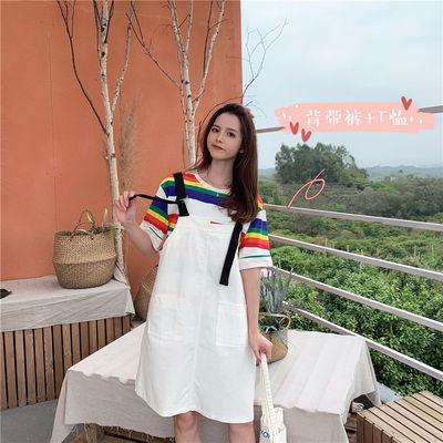 哺乳装背带裙两件套套装纯棉外出喂奶衣服期外出时尚韩版大码夏季