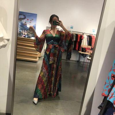 国现 AliceOlivia AO重工彩虹蟒蛇纹长款连衣裙CC907P57522 Z