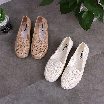 可玲儿sky坡跟护士鞋白色凉鞋女夏季塑料镂空孕妇妈妈洞洞工作鞋