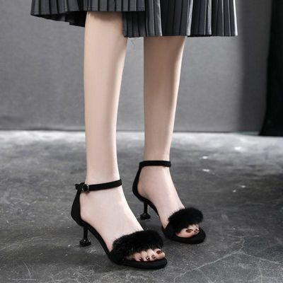 2020新款性感风露趾细跟高跟鞋小码一字扣百搭凉鞋女鞋