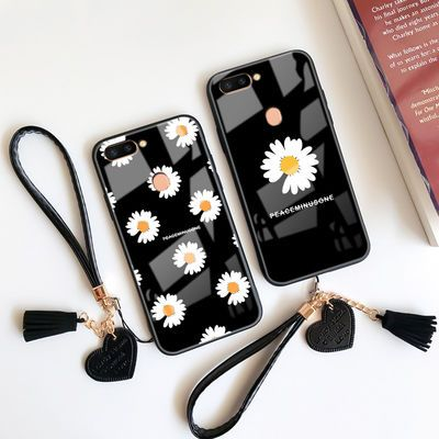 oppor11s手机壳女GD权志龙同款小雏菊r11splus玻璃壳st全包保护套