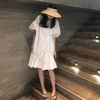 2020新款女夏时尚韩版宽松显瘦蓝色中长款超仙连衣裙灯笼袖裙子