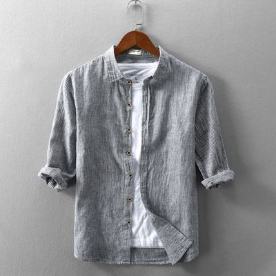 夏季翻领条纹亚麻七分袖衬衫男士宽松7分中袖薄款休闲棉麻衬衣潮