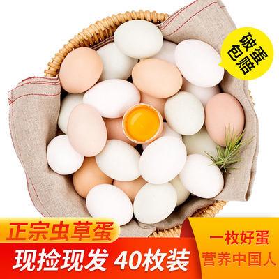 40枚虫草蛋正宗山林散养土鸡蛋柴鸡蛋笨鸡蛋新鲜虫草蛋破损包赔