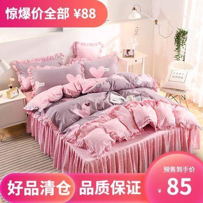 韩版床裙床罩被套臻绒磨毛三件套/四件套公主风家纺床上用品1.8
