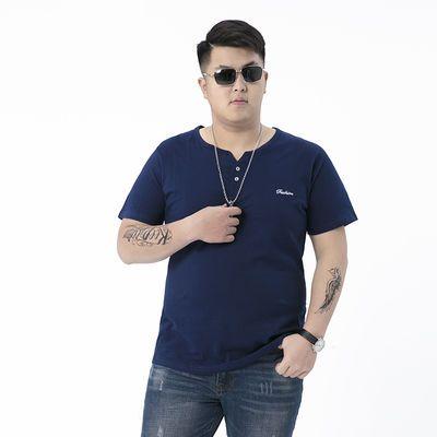 夏季短袖T恤加肥加大码男装经典纯棉半袖肥佬宽松休闲圆领体恤衫