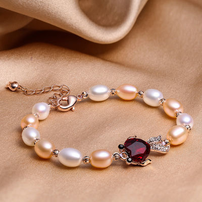 7-8mm正品天然淡水珍珠手链女米型高亮无瑕闺蜜送礼精美礼盒