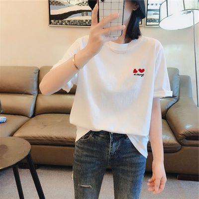 短袖t恤女2020新款夏装韩版棉质白色刺绣百搭休闲半袖体恤上衣服