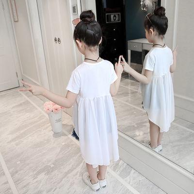 女童t恤长款短袖2020新款韩版夏装中大童洋气宽松儿童舞蹈燕尾裙