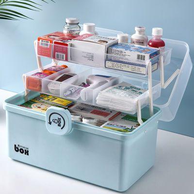 家用多规格透明药箱超大号药箱化妆品收纳箱手提箱医药箱急救箱小
