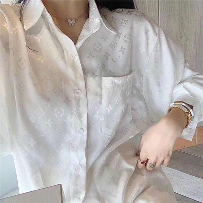 爆款欧洲站绸缎白衬衫女设计感小众轻熟复古港味宽松韩版慵懒风欧