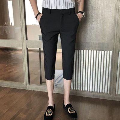 宽松西裤中裤薄款男士裤男沙滩裤男修身分裤五分裤短裤夏季父亲