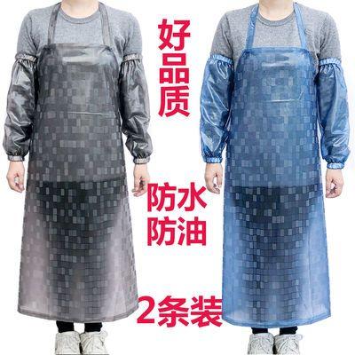 很划算1u002F2条装】防水防油pvc围裙男女厨房餐厅透明塑胶加厚长