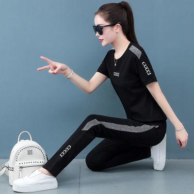 休闲运动套装女2020夏季新款跑步韩版时尚宽松显瘦短袖大码两件套