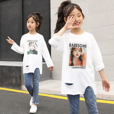 。童装儿童2020春装女童打底衫长袖T恤中大童印花中长款白色上衣